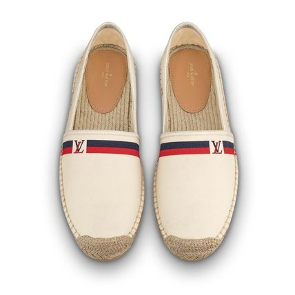 Louis Vuitton Loafers & Slip-ons Plain Toe Blended Fabrics Bi-color Plain Loafers & Slip-ons 9