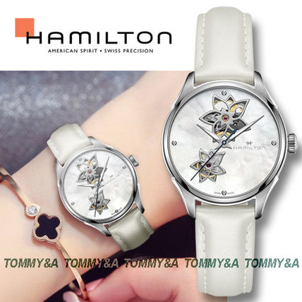 Unisex Blended Fabrics Leather Round Mechanical Watch