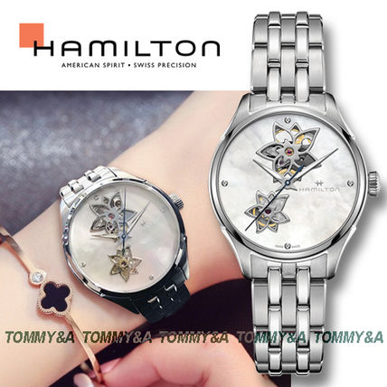 Blended Fabrics Round Mechanical Watch Stainless With Jewels