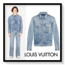 Louis Vuitton Short Denim Blended Fabrics Street Style Plain Denim Jackets