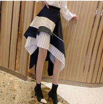 Stripes Casual Style Blended Fabrics Pleated Skirts Plain