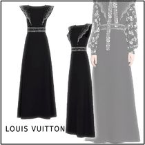 Louis Vuitton 2019-20AW LONG DRESS WITH EMBROIDERED BELT black S,M dresses