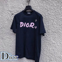 Christian Dior Unisex Street Style Cotton Short Sleeves T-Shirts