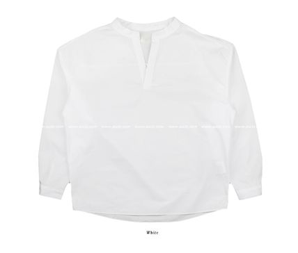 ASCLO Shirts Street Style Collaboration Long Sleeves Plain Cotton Shirts 15