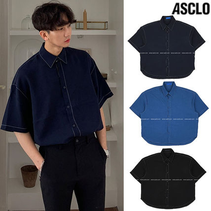 ASCLO Shirts Street Style Collaboration Plain Cotton Short Sleeves Shirts