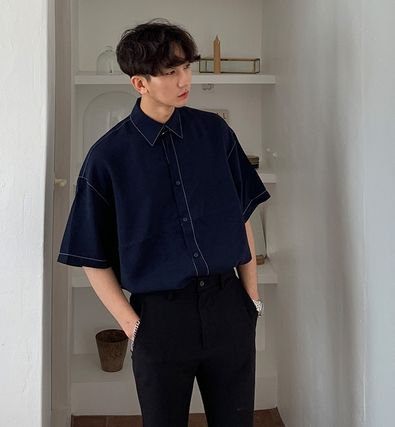 ASCLO Shirts Street Style Collaboration Plain Cotton Short Sleeves Shirts 2