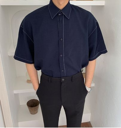 ASCLO Shirts Street Style Collaboration Plain Cotton Short Sleeves Shirts 6