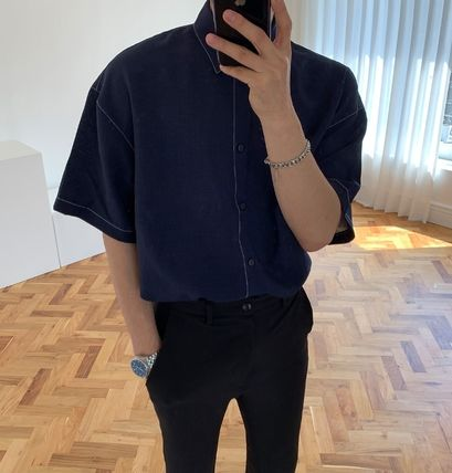 ASCLO Shirts Street Style Collaboration Plain Cotton Short Sleeves Shirts 10