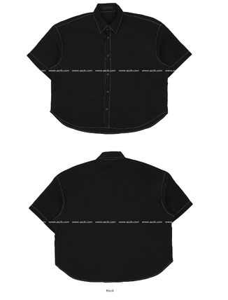 ASCLO Shirts Street Style Collaboration Plain Cotton Short Sleeves Shirts 16