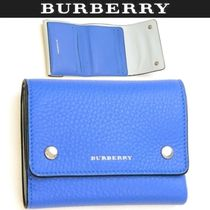 Burberry Unisex Plain Leather Folding Wallets
