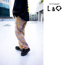 Printed Pants Other Check Patterns Unisex Street Style