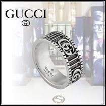 GUCCI Stripes Monogram Street Style Silver Rings