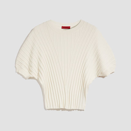 Puffed Sleeves Plain Office Style Sweaters