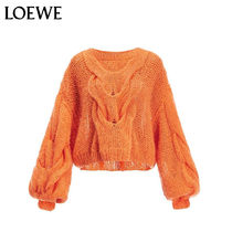 LOEWE Crew Neck Cable Knit Casual Style Wool Long Sleeves Plain