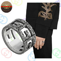 GUCCI Flower Patterns Silver Rings