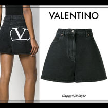 VALENTINO Short Casual Style Denim Plain Denim & Cotton Shorts