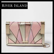 River Island Faux Fur Blended Fabrics 2WAY Elegant Style Clutches