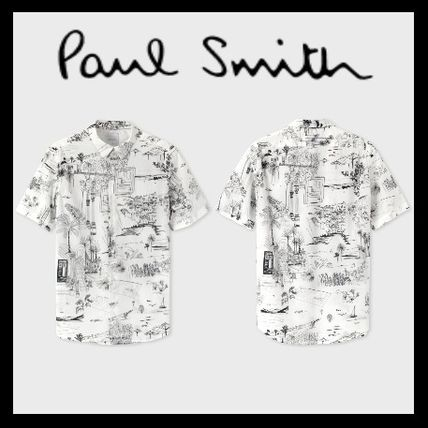 Paul Smith Shirts Tropical Patterns Cotton Short Sleeves Shirts