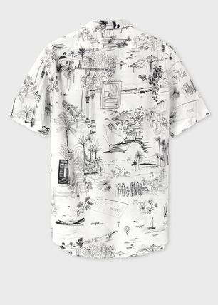 Paul Smith Shirts Tropical Patterns Cotton Short Sleeves Shirts 4