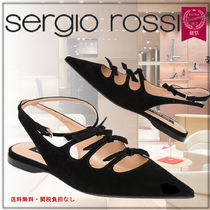 Sergio Rossi Rubber Sole Suede Blended Fabrics Plain Sabo Elegant Style