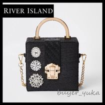 River Island Flower Patterns 2WAY Chain With Jewels Straw Bags