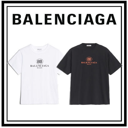 BALENCIAGA Crew Neck Crew Neck Pullovers Unisex Plain Cotton Short Sleeves