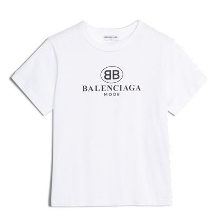BALENCIAGA Crew Neck Crew Neck Pullovers Unisex Plain Cotton Short Sleeves 2