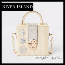River Island Flower Patterns 2WAY Chain With Jewels Crossbody Straw Bags