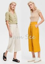 RESERVED Casual Style Plain Medium Wide Leg Pants