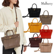 Mulberry Bayswater Blended Fabrics Street Style 2WAY Plain Leather