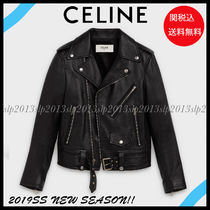 CELINE Short Blended Fabrics Plain Leather Biker Jackets