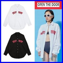 OPEN THE DOOR Casual Style Unisex Oversized Shirts & Blouses