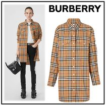 Burberry Other Check Patterns Cotton Long Shirts & Blouses