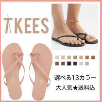 TKEES Rubber Sole Plain Leather Flip Flops Flat Sandals