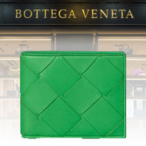 BOTTEGA VENETA Lambskin Plain Folding Wallets