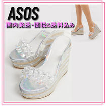 ASOS Stripes Open Toe Casual Style Blended Fabrics