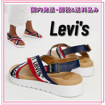Stripes Open Toe Casual Style Sport Sandals Flat Sandals