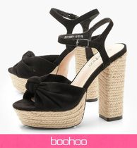 boohoo Platform Casual Style Faux Fur Platform & Wedge Sandals