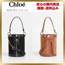See by Chloe Suede 2WAY Chain Plain Elegant Style Shoulder Bags