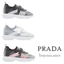 PRADA Dots Camouflage Rubber Sole Casual Style Low-Top Sneakers