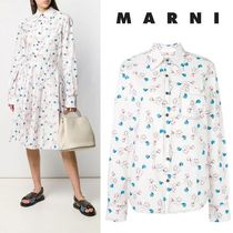 MARNI Flower Patterns Casual Style Long Sleeves Cotton Medium