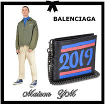 BALENCIAGA Chain Leather Folding Wallets