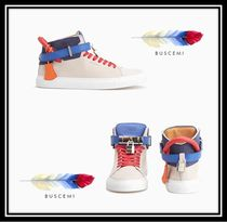 BUSCEMI Street Style Plain Leather Sneakers
