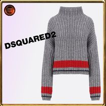 D SQUARED2 Cable Knit Casual Style Long Sleeves High-Neck Knitwear
