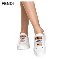 FENDI Plain Toe Rubber Sole Casual Style Leather Slip-On Shoes