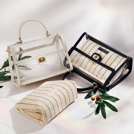 2WAY Crystal Clear Bags PVC Clothing Office Style
