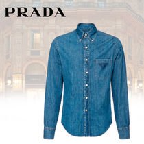 PRADA Long Sleeves Plain Cotton Shirts