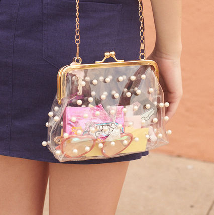 Casual Style Street Style Plain Crystal Clear Bags