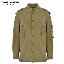 Saint Laurent Casual Style Long Sleeves Chain Plain Cotton Medium