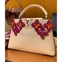 Louis Vuitton CAPUCINES Flower Patterns Blended Fabrics 2WAY Bi-color Leather